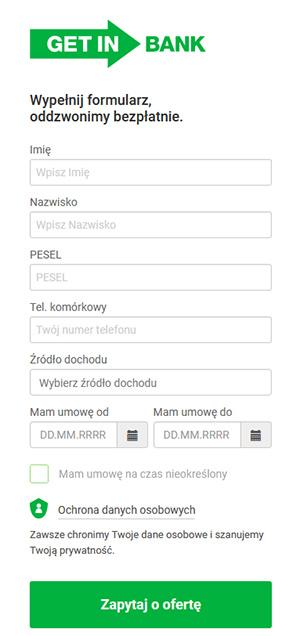 Getin Bank formularz